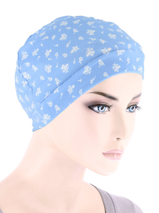 CE-CHEMOCAP-FLORALBLUE#Chemo Cap Buttery Soft in Blue Petite Floral