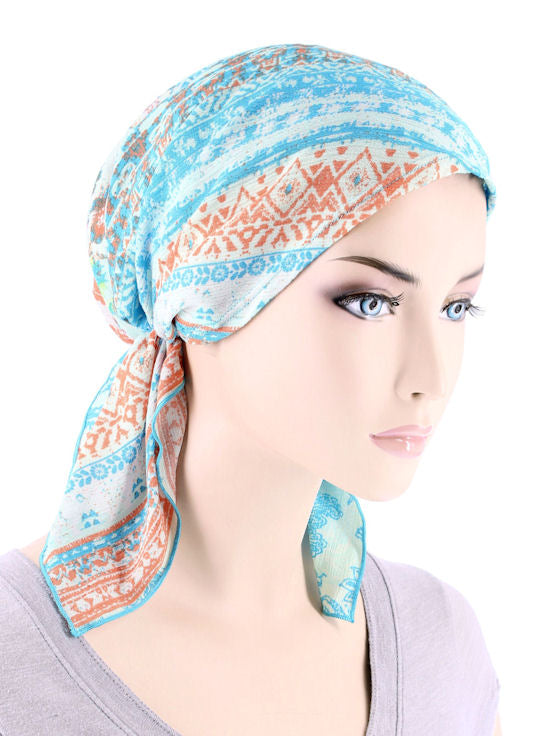 CE-BDNASCARF-900#Bandana Scarf in Turquoise Tribal Stripe