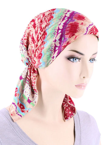 CE-BDNASCARF-901#Bandana Scarf in Red Tribal Stripe