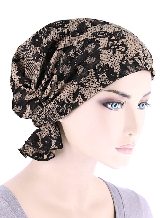 ABBEY-693#The Abbey Cap in Beige Black Lace Print