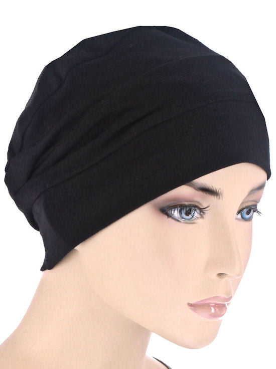CKC-BLACK#3-Seam Chemo Cloche Cap in Black