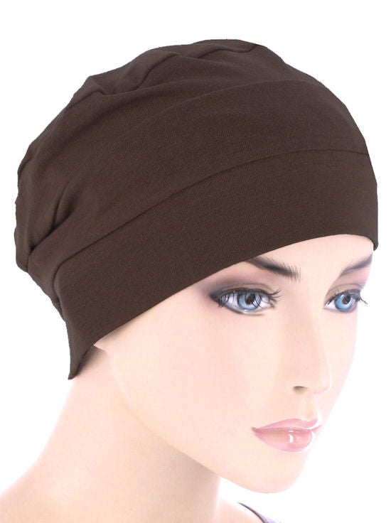 CKC-BROWN#3-Seam Chemo Cloche Cap Cap in Brown