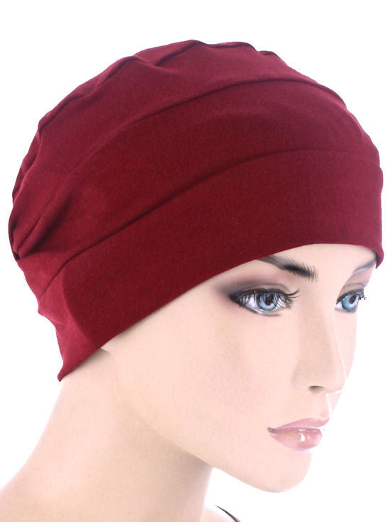 CKC-BURGUNDY#3-Seam Chemo Cloche Cap in Burgundy