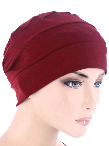 CKC-WINE#3-Seam Chemo Cloche Cap in Burgundy