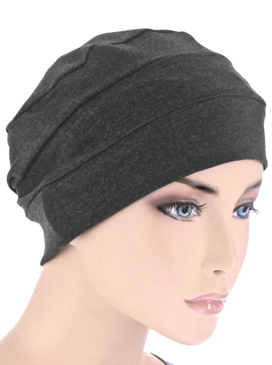 CKC-CHARCOAL#3-Seam Chemo Cloche Cap in Charcoal Gray