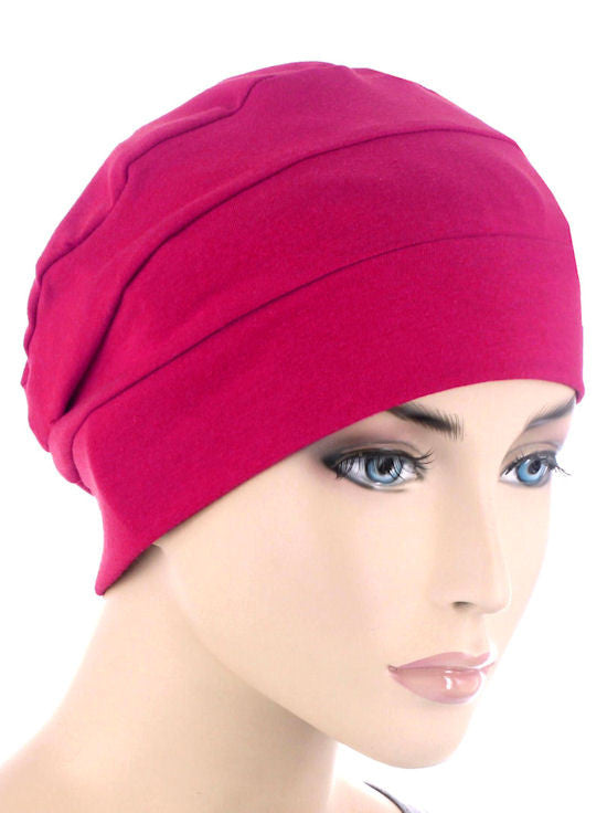 CKC-HTPINK#3-Seam Chemo Cloche Cap in Hot Pink