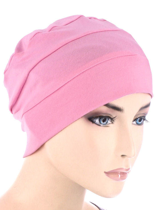 CKC-LTPINK#3-Seam Chemo Cloche Cap in Light Pink