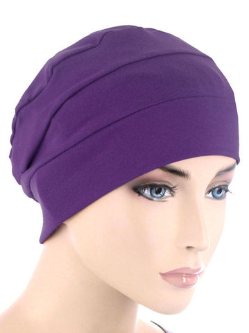 CKC-PURPLE#3-Seam Chemo Cloche Cap in Purple