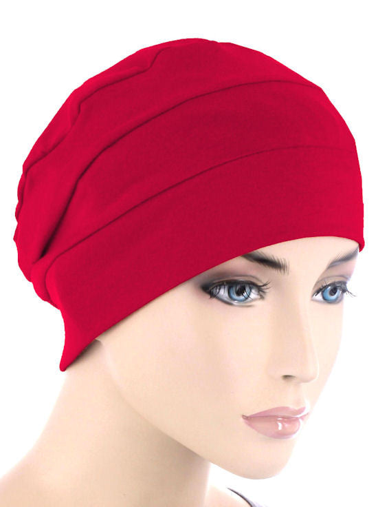 CKC-RED#3-Seam Chemo Cloche Cap in Red