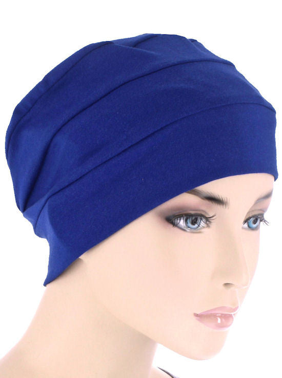 CKC-ROYAL#3-Seam Chemo Cloche Cap in Royal Blue