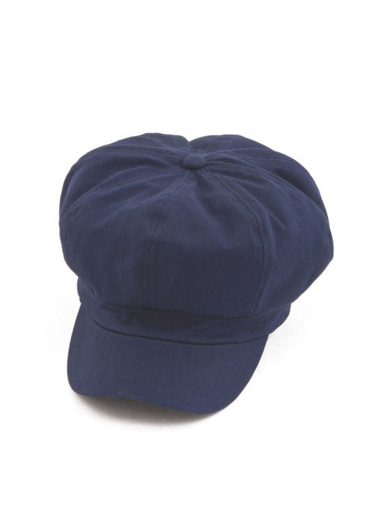 NB-NAVY#Cotton Newsboy Chemo Hat in Navy Blue