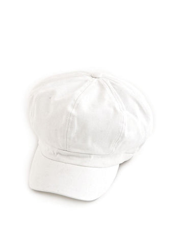 NB-WHITE#Cotton Newsboy Chemo Hat in White