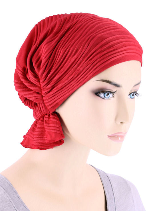 ABBEY-657#The Abbey Cap in Red Wave Micro Ruffle