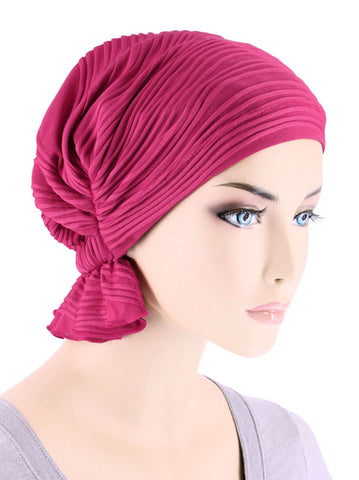 ABBEY-659#The Abbey Cap in Hot Pink Wave Micro Ruffle