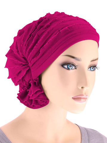 ABBEY-516#The Abbey Cap in Ruffle Magenta
