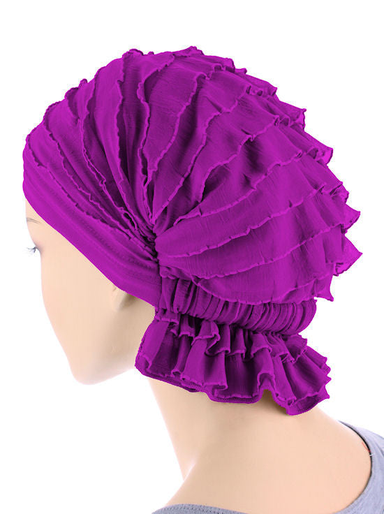 ABBEY-603#The Abbey Cap in Ruffle Plum