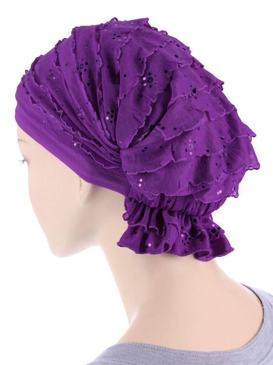 ABBEY-624#The Abbey Cap in Ruffle Purple Sequin