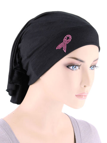 CE-BDNAWRAP-PR-BLACK#Bandana Wrap Pink Ribbon Rhinestud in Black