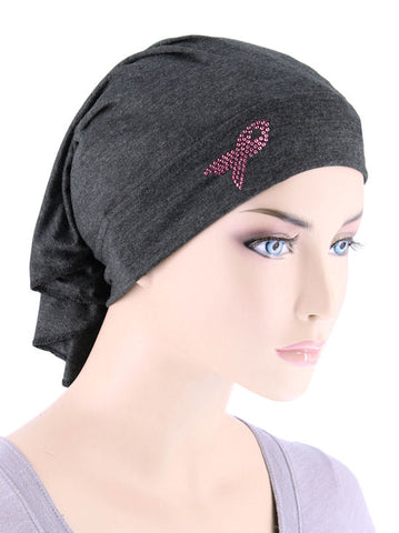 CE-BDNAWRAPPR-CHARCOAL#Bandana Wrap Pink Ribbon Rhinestud in Charcoal Gray