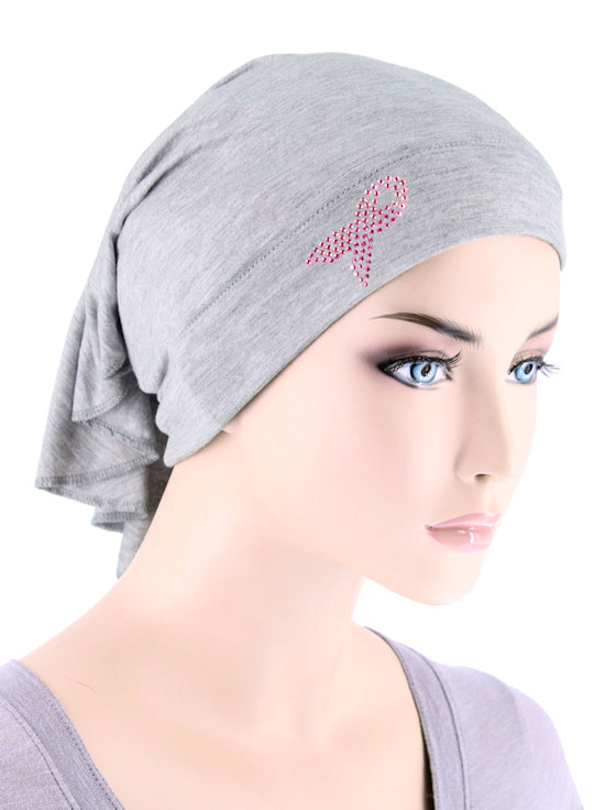 CE-BDNAWRAP-PR-HEATHERGRAY#Bandana Wrap Pink Ribbon Rhinestud in Heather Gray