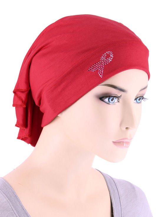 CE-BDNAWRAP-PR-RED#Bandana Wrap Pink Ribbon Rhinestud in Red
