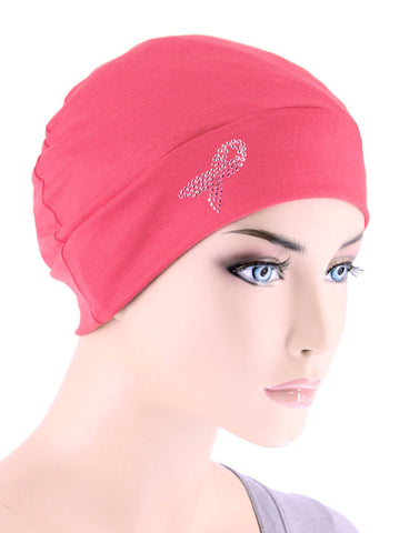 CE-CHEMOCAP-PR-CORAL#Chemo Cap Pink Ribbon Rhinestud in Coral Pink