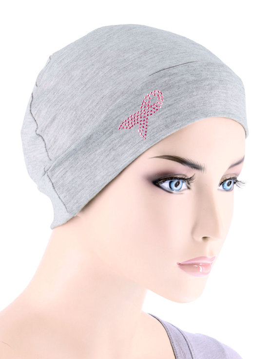 CE-CHEMOCAP-PR-HEATHERGRAY#Chemo Cap Pink Ribbon Rhinestud in Heather Gray