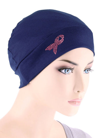 CE-CHEMOCAPPR-NAVY#Chemo Cap Pink Ribbon Rhinestud in Navy Blue