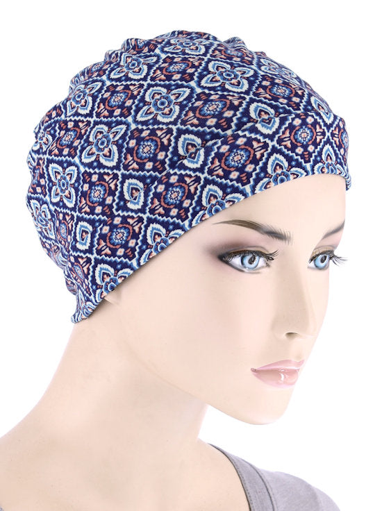 CE-CHEMOCAP-BLUEMEDALLION#Chemo Cap in Blue Medallion