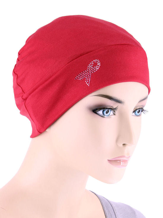 CE-CHEMOCAP-PR-RED#Chemo Cap Pink Ribbon Rhinestud in Red