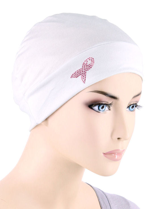 CE-CHEMOCAPPR-WHITE#Chemo Cap Pink Ribbon Rhinestud in White