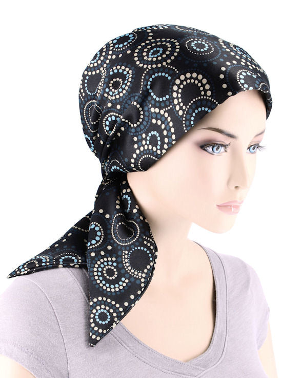 CFS-1146#Chemo Fashion Scarf Black Blue Polka Swirl