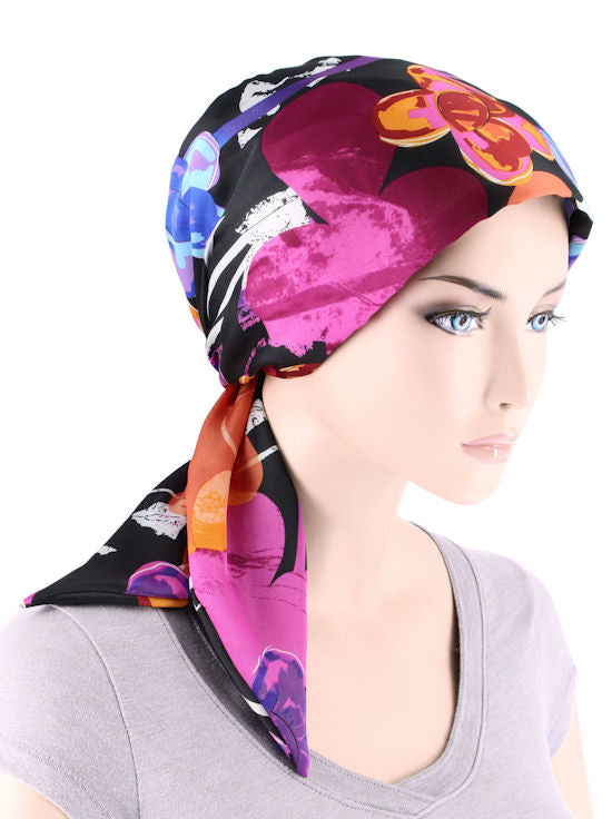 CFS-1147#Chemo Fashion Scarf Plum Water Floral