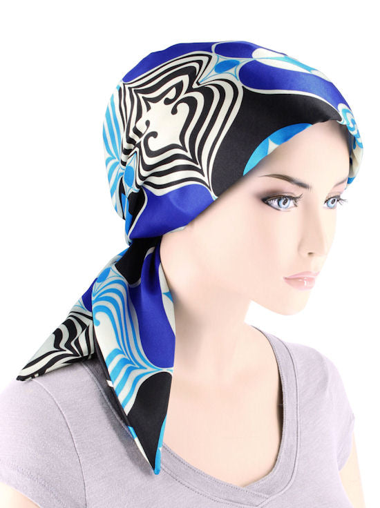 CFS-1151#Chemo Fashion Scarf Retro Royal Blue Geometric