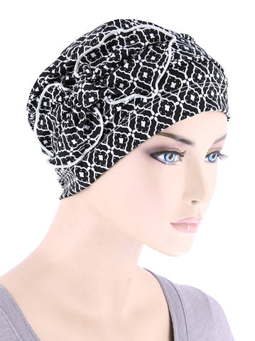 H121-BLACKMEDALLION#Ribbed Cloche Bow Hat Black White Medallion