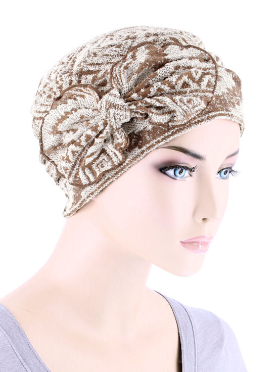 H121-TANNAVAJO#Ribbed Cloche Bow Hat Burnout Fabric Tan Navajo