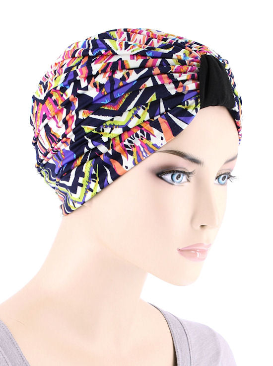 DKT-214#Elegant Print Turban in Electric Pink Paradise