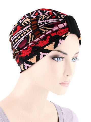 DKT-217#Elegant Print Turban in Ashaki Africa Red