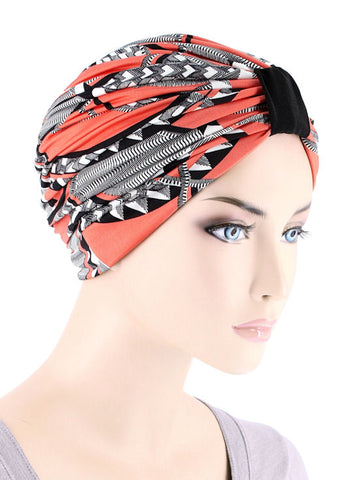 DKT-219#Elegant Print Turban in Peach Saint Tropez