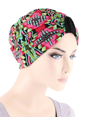 DKT-222#Elegant Print Turban in Pink Tropical Punch