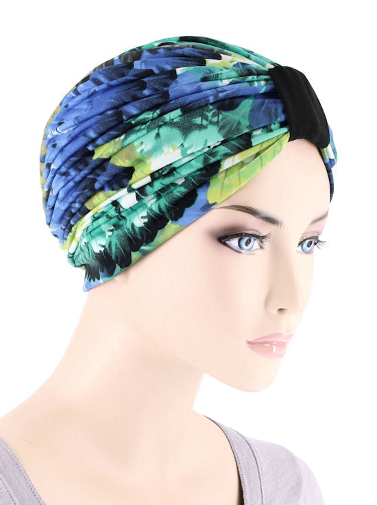 DKT-223#Elegant Print Turban in Peacock Blue