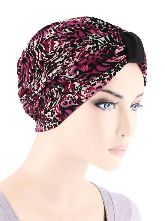 DKT-226#Elegant Print Turban in Animal Wild Berry