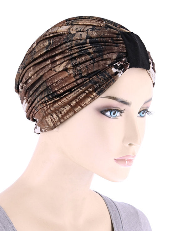 DKT-228#Elegant Print Turban in Marble Brown Gold
