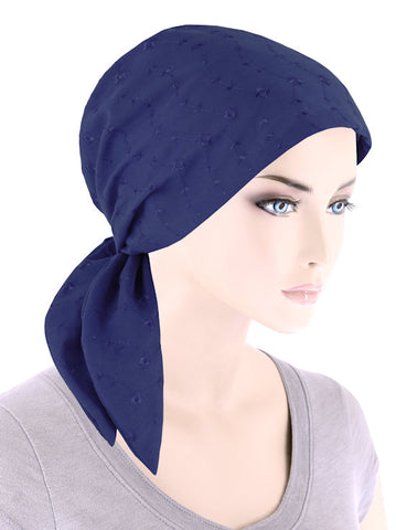 ES-NAVY#Eyelet Cotton Scarf Navy
