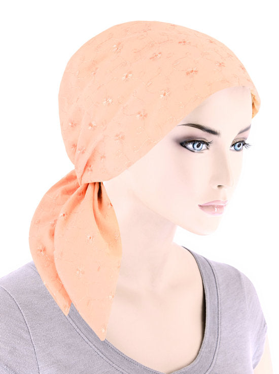 ES-PEACH#Eyelet Cotton Scarf Peach