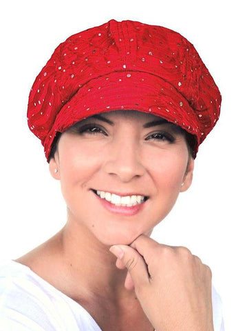 GNB-RED#Elton Dazzle Glitter Newsboy Hat Red