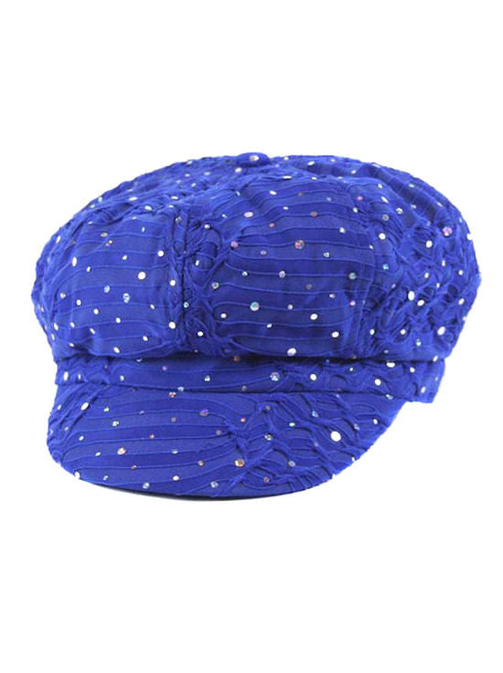 GNB-ROYAL#Elton Dazzle Glitter Newsboy Hat Royal Blue