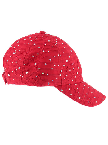 GBC-RED#Glitter Sequin Baseball Cap Red