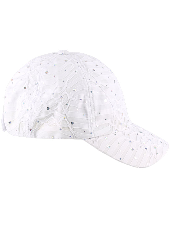 GBC-WHITE#Glitter Sequin Baseball Cap White