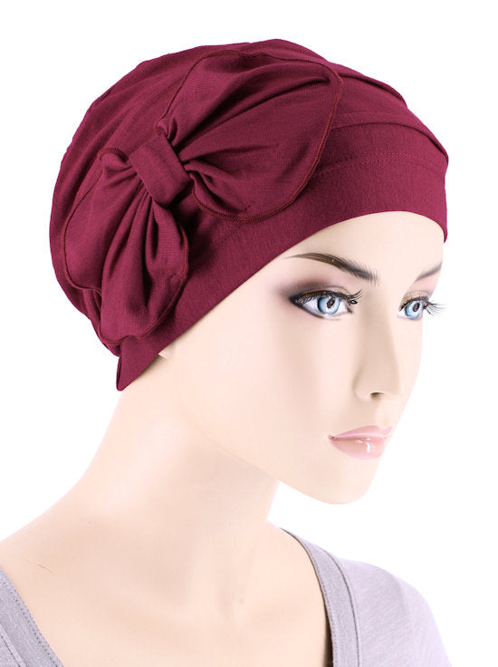 H121BB-BURGUNDY#Bamboo Pleated Bow Cap Burgundy